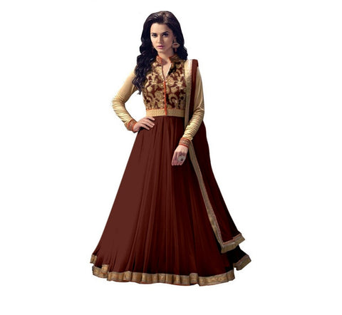 Women Net Brown  Anarkali Semi Stiched Salwar Suit With Dupatta