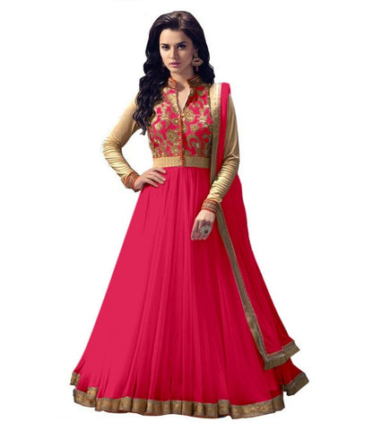 Women Net Gajri Anarkali Semi Stiched Salwar Suit With Dupatta