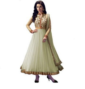 Women Net Offwhite Anarkali Semi Stiched Salwar Suit With Dupatta