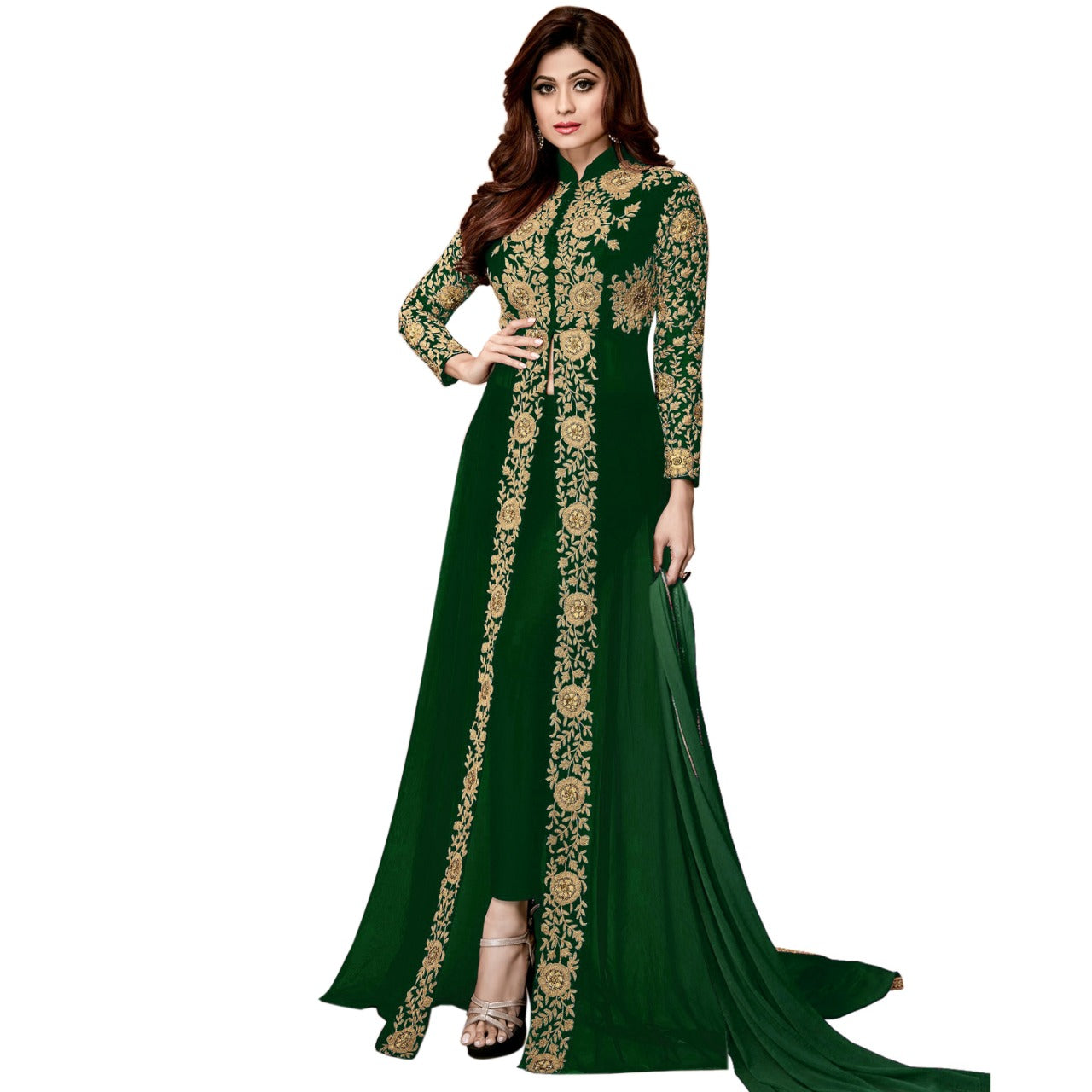 Women Georgette Green Anarkali Long Salwar Suit With Dupatta