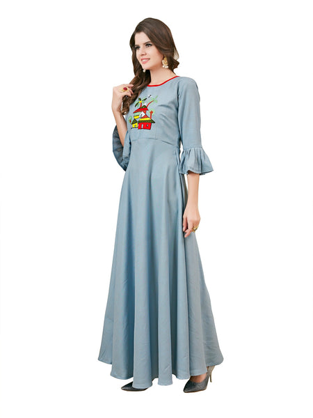 Women Full Stiched Reyon Fabric Gown