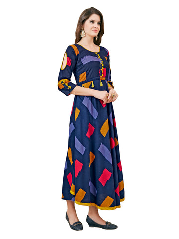 Women Full Stiched Reyon print  Fabric Gown