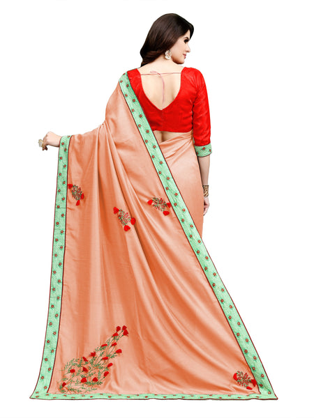 Women Georgette Embroidery Saree with Satin Banglory Blouse Piece