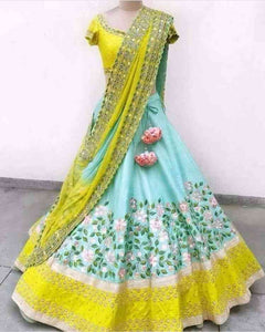 Blue n Yellow Colored Lehengha Choli With Embrodariy Work -LC13