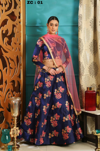 Women Banglory Satin Digital Print Lahenga Choli With Blouse