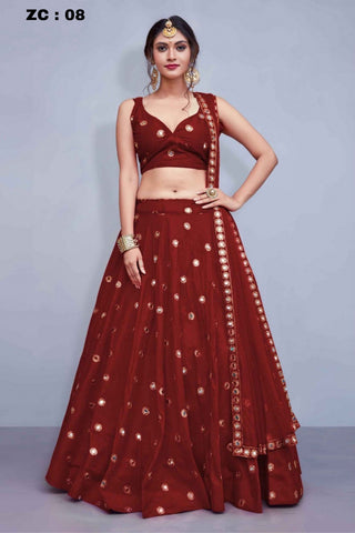 Women Banglory Satin Mirroe And Sequence Work Lehenga Choli With Blouse