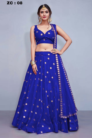 Women Banglory Satin Mirror And Sequence Work Lehenga Choli With Blouse