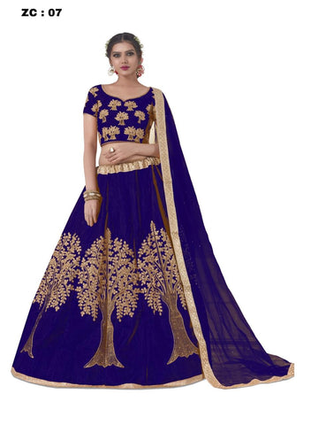 Women Banglory Satin Embroidered Lehenga Choli With Blouse