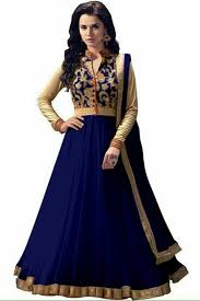 Women Net Navy Blue Anarkali Semi Stiched Salwar Suit With Dupatta