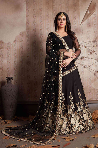 Amazing Black Designer Partywear Embroidered Tapeta Silk Lehenga Choli-LC131