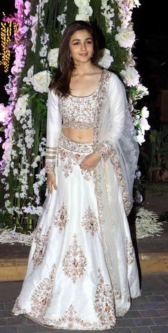 Shine white Colored Partywear Designer Embroidered Tapeta Silk Lehenga Choli-LC132