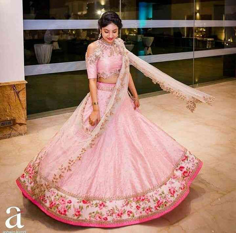 Genius Pink Colored Dupatta Partywear Designer Embroidered Raw Silk Lehenga Choli-LC161