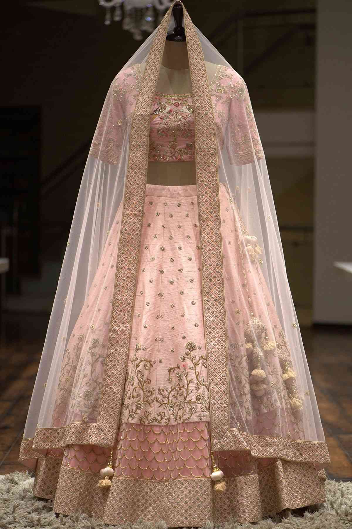 Pastel Pink Cutdana Embroidered Silk Bridal Lehenga in 2019 lc192