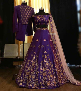 Purple Embroidered Attractive Party Wear Lehenga LC-198
