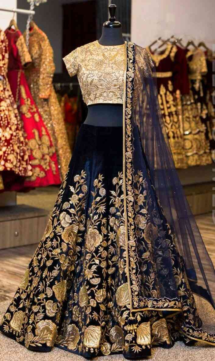 Navy blue Embroidered Attractive Party Wear Lehenga LC-199