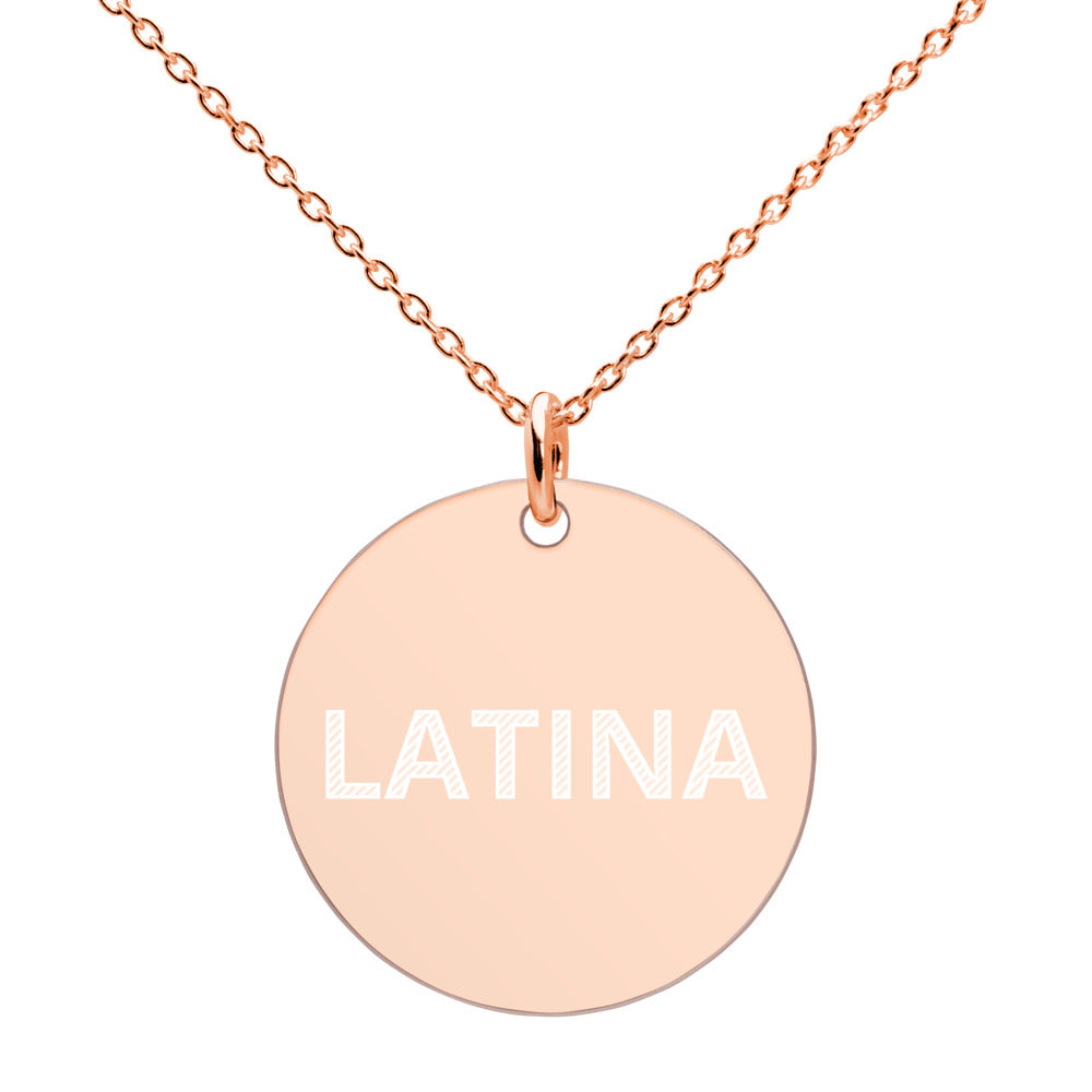 LATINA Engraved Silver Disc Necklace - Xóchitl Gift Shop