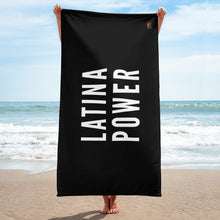 Load image into Gallery viewer, Black and White Latina Power beach  Towel - Xóchitl Gift Shop