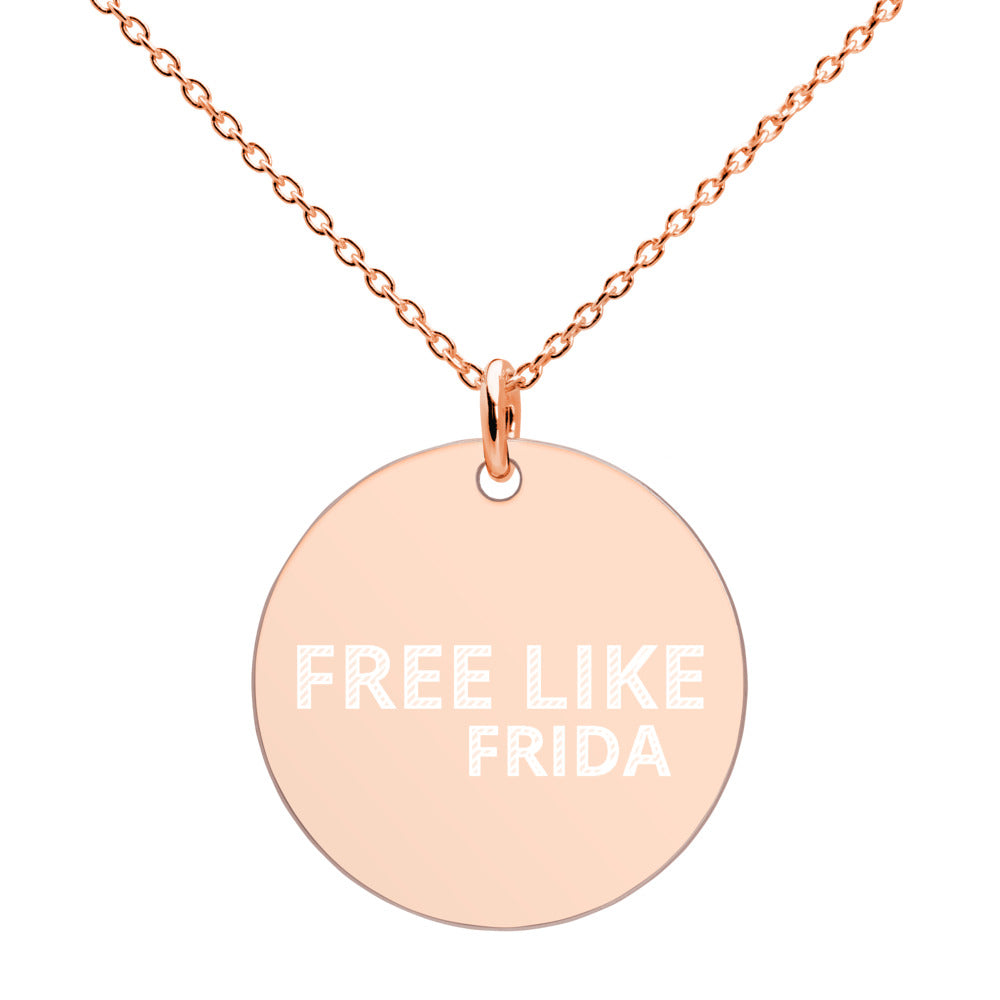 FREE LIKE FRIDA Engraved Silver Disc Necklace - Xóchitl Gift Shop