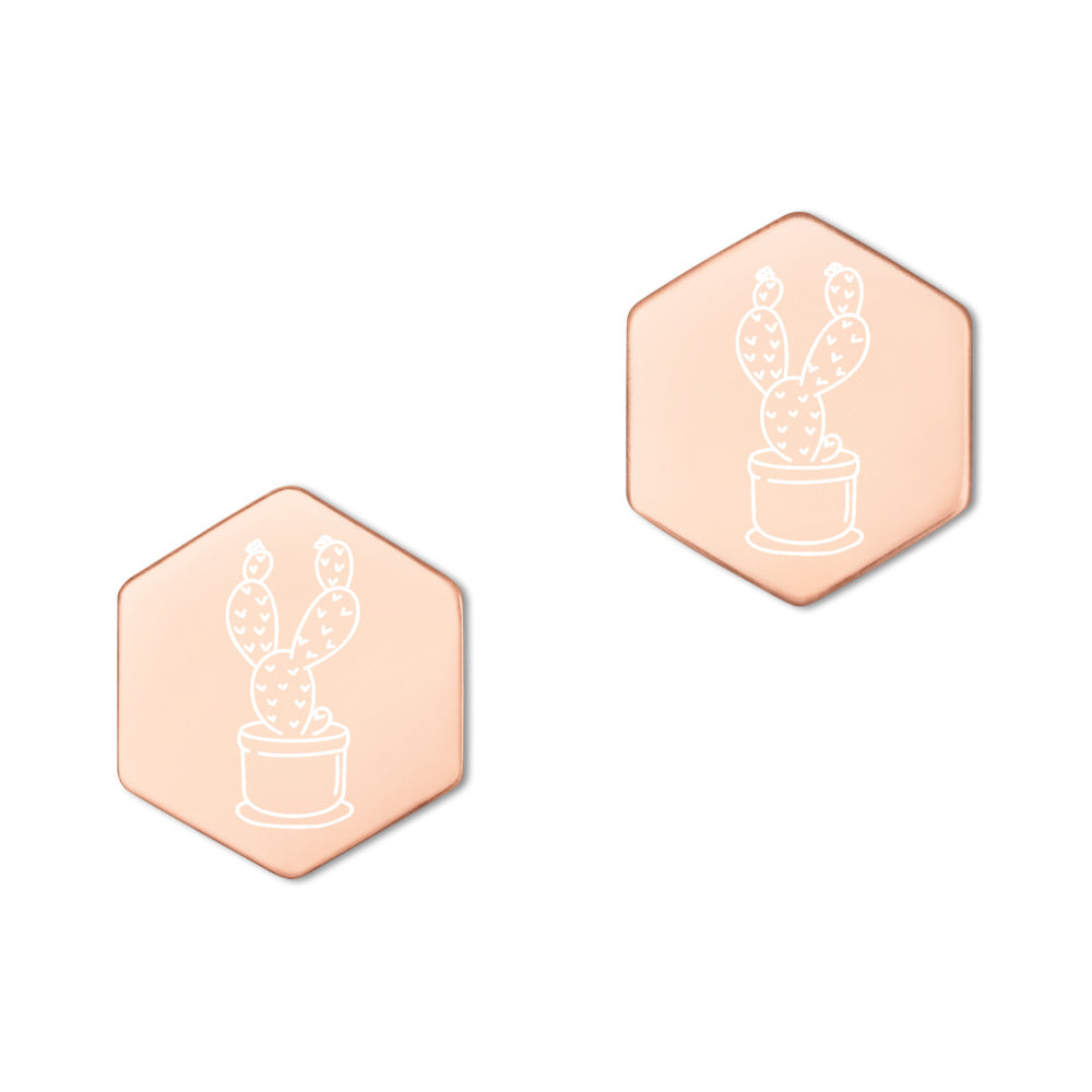 CACTUS Sterling Silver Hexagon Stud Earrings - Xóchitl Gift Shop