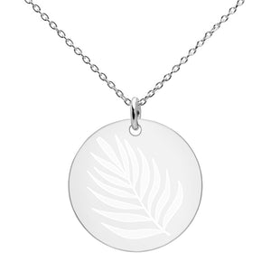 La Palm Engraved Silver Disc Necklace - Xóchitl Gift Shop