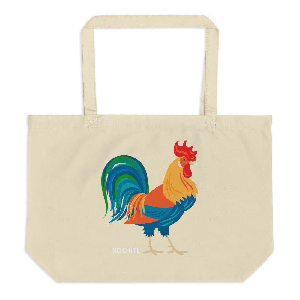Rooster Large organic tote bag - Xóchitl Gift Shop