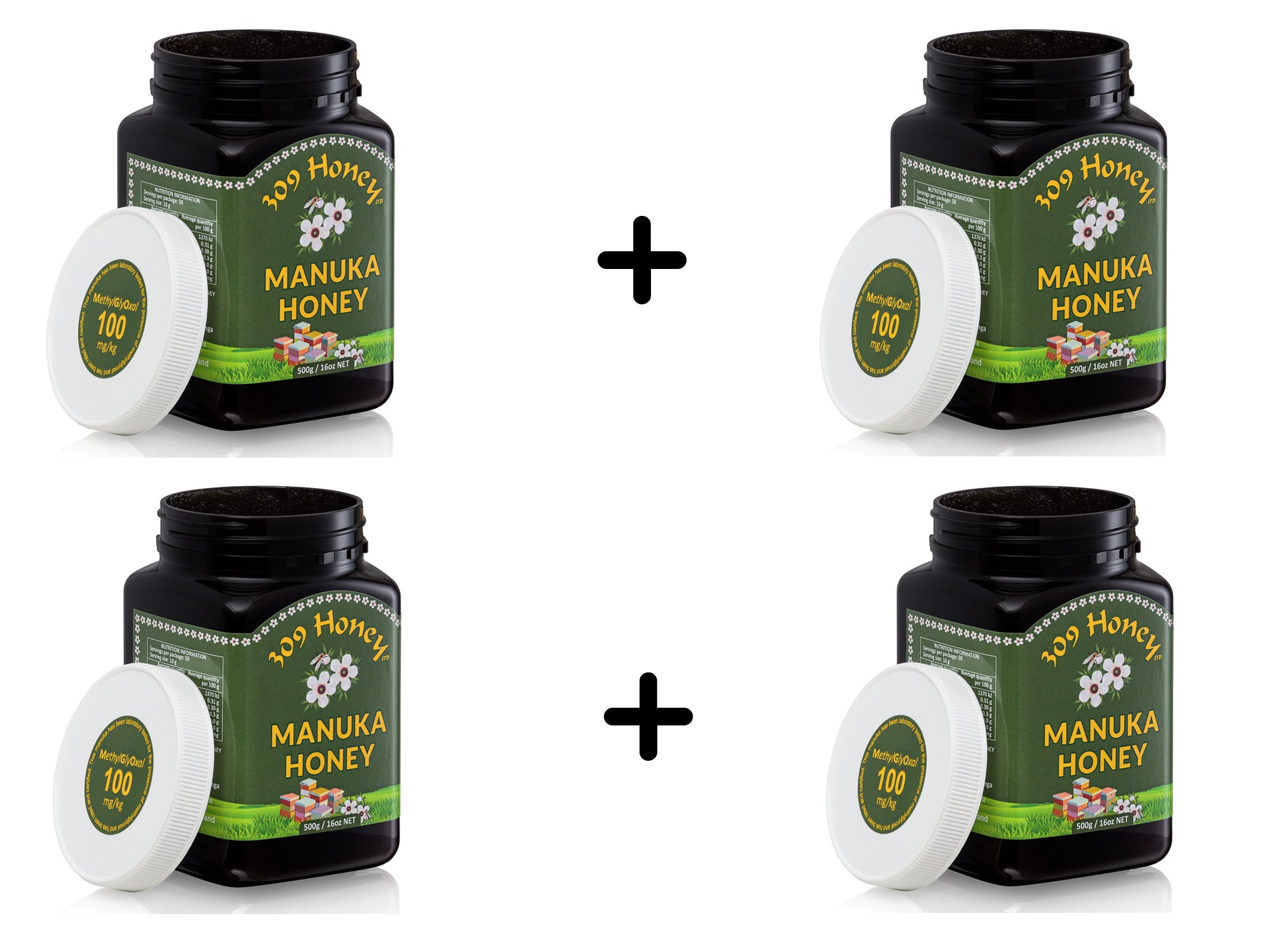 Bundle of 4 X 309 Manuka Honey 100MGO 500g