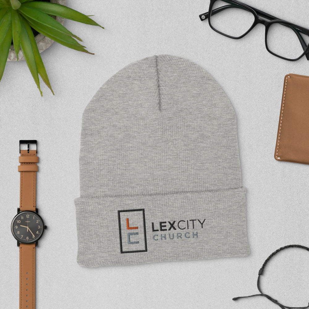 Heather Grey LexCity Beanie (Multi-Color Stitching)