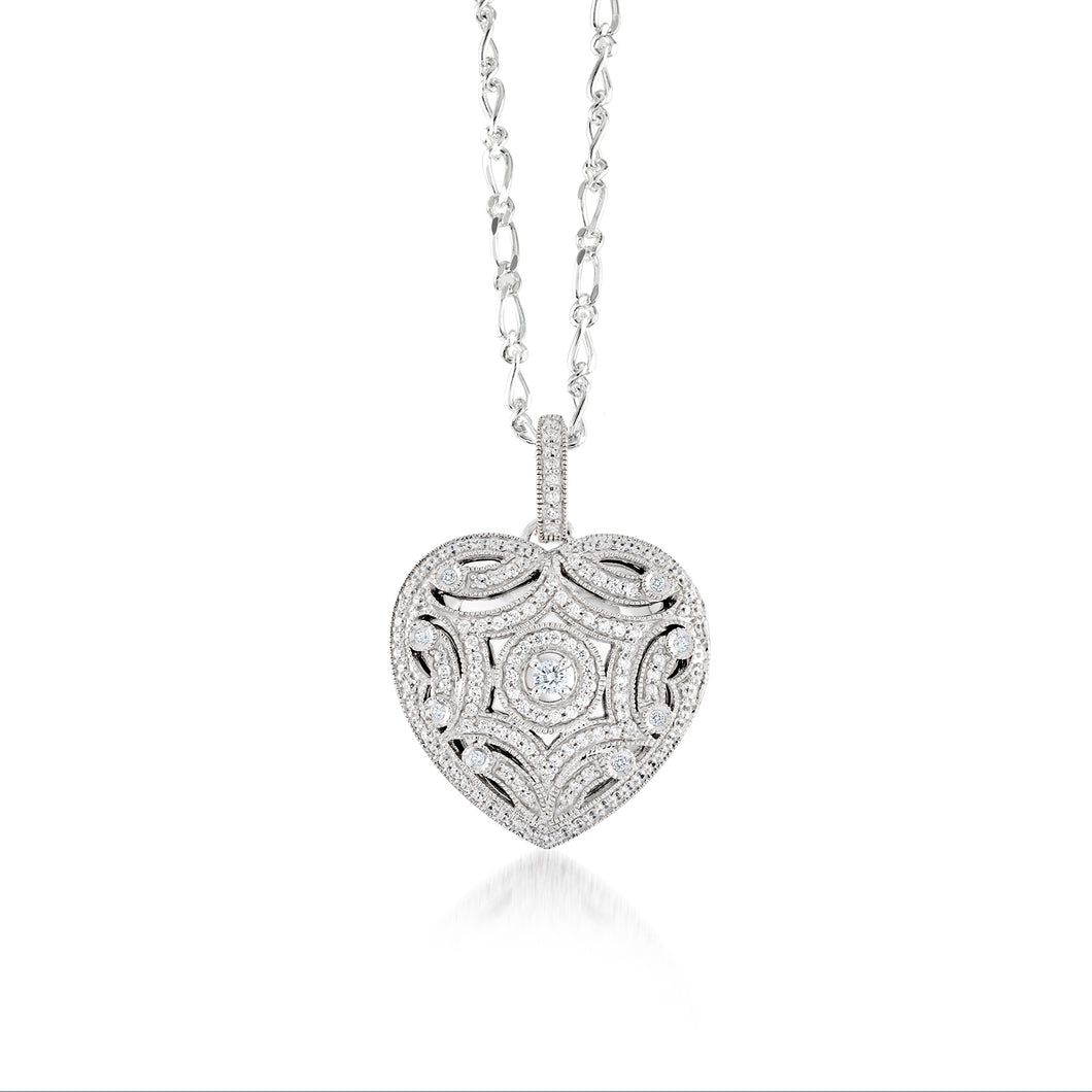 925 Sterling Silver Heart shape intricate locket Necklace Miss Mimi 09-72290