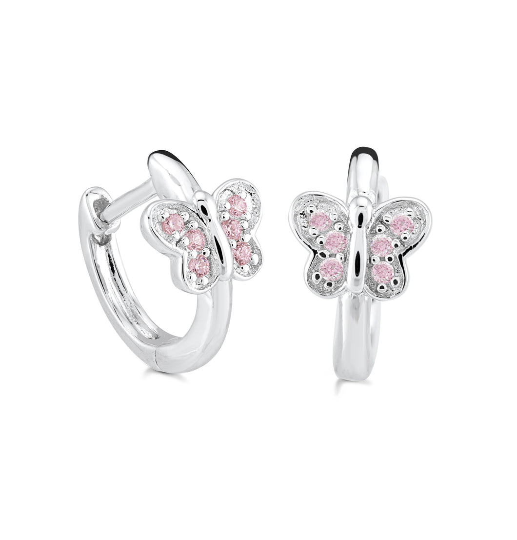 925 Sterling Silver Butterfly hoop with lab created pink sapphires Earring Miss Mimi 13-142651-03