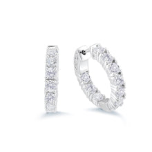 Load image into Gallery viewer, 925 Sterling Silver Inside out diamond look alike hoop Earrings Miss Mimi 13-142789-01