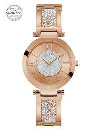 GUESS ROSE GOLD-TONE CRYSTAL BANGLE ANALOG WATCH U1288L3