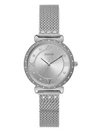 GUESS SILVER-TONE MESH AND CRYSTAL ANALOG WATCH U1289L1
