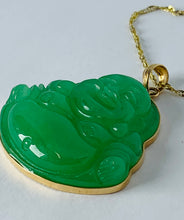 Load image into Gallery viewer, 14K Yellow Gold Jade Pendant on 10K Yellow Gold Chain