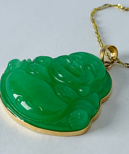 14K Yellow Gold Jade Pendant on 10K Yellow Gold Chain