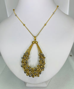 14K Two Tone Gold Necklace Fancy Design
