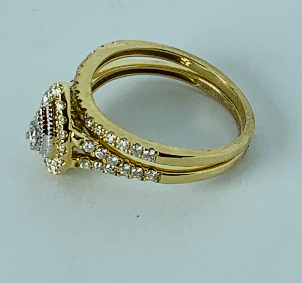 10K YELLOW GOLD DIAMONDS TWIN RING