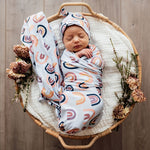 Sunset Rainbow | Baby Jersey Wrap & Beanie Set