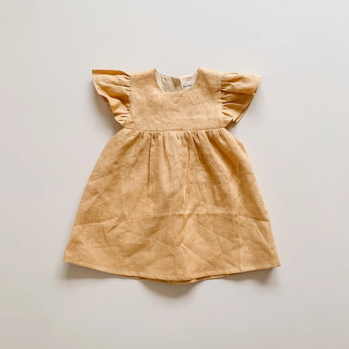 Golden Linen Babydoll Dress