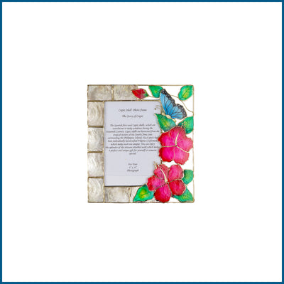 Capiz Picture Frame 4x6 - Flower with Butterfly - TESOROS