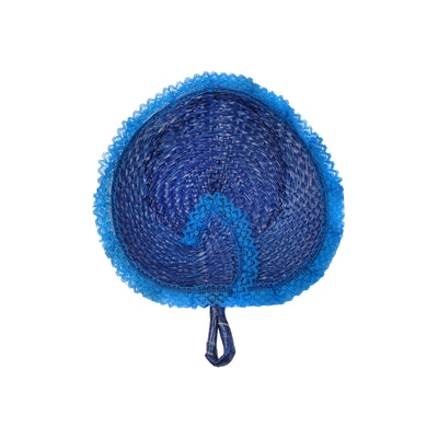 Anahaw Fan with Lace - Blue - TESOROS