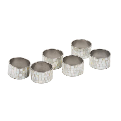 Silver White Blocking Mother of Pearl Napkin Ring Set of 6 - TESOROS