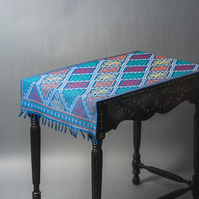 Yakan - Bunga Sama Table Runner Blue - TESOROS
