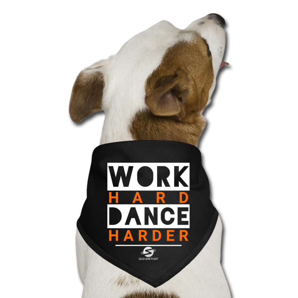 Work Hard Dance Harder Dog Bandana - black