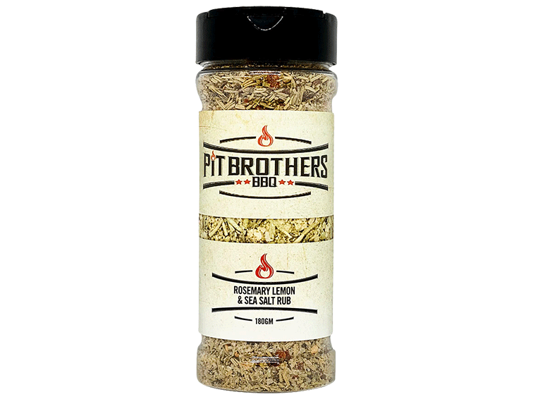 Pit Brothers BBQ have created a premium range of meat rubs & food seasoning to suit your ingredients & compliment your style of cooking. But even we can't go past this perfect 'new blend' rosemary, sea salt & lemon rub, served up with a hint of citrus to bring out the flavour in everything you cook.