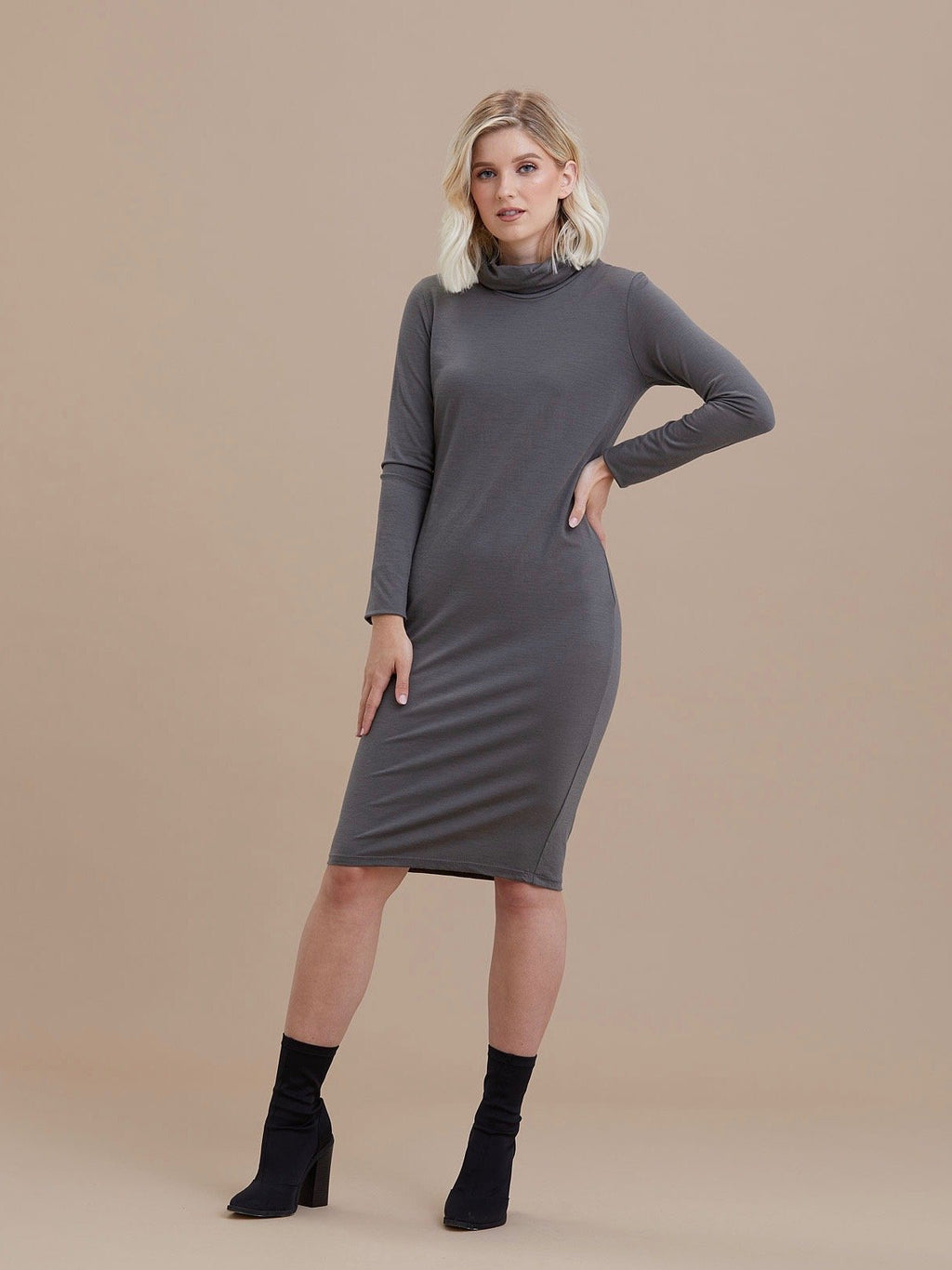 Merino Roll Neck Tunic Dress