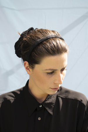 Plain Hairy Headband - Black