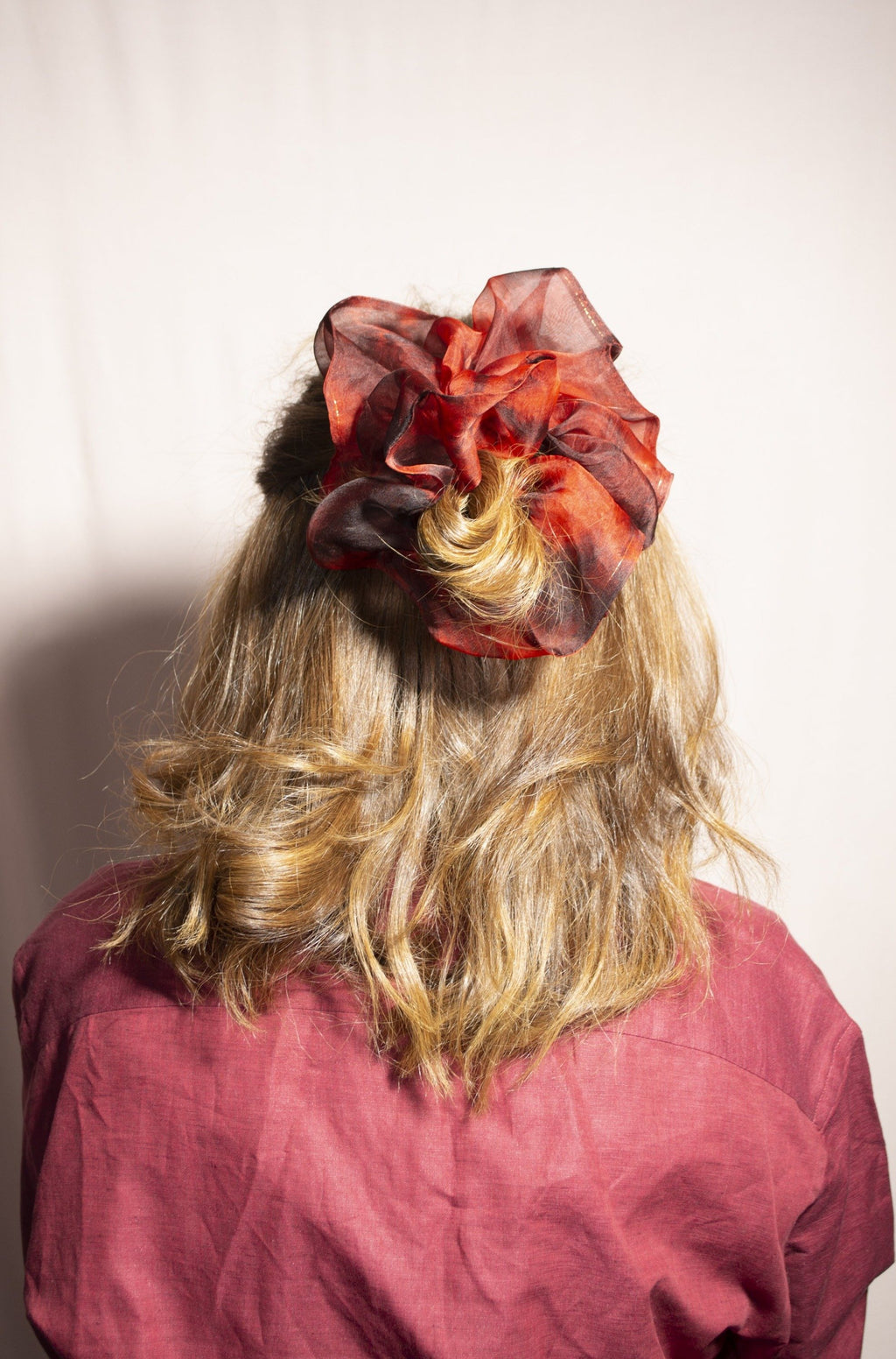 Mega Scrunchie - Structured Organza Crimson Tie-Dye