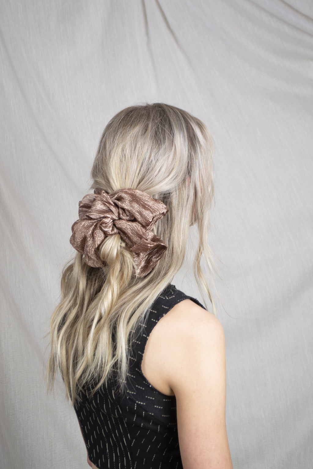 Mega Scrunchie - Structured Organza Metallic Chocolate