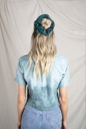 Upcycled Crop Tie-Dye Green Shirt