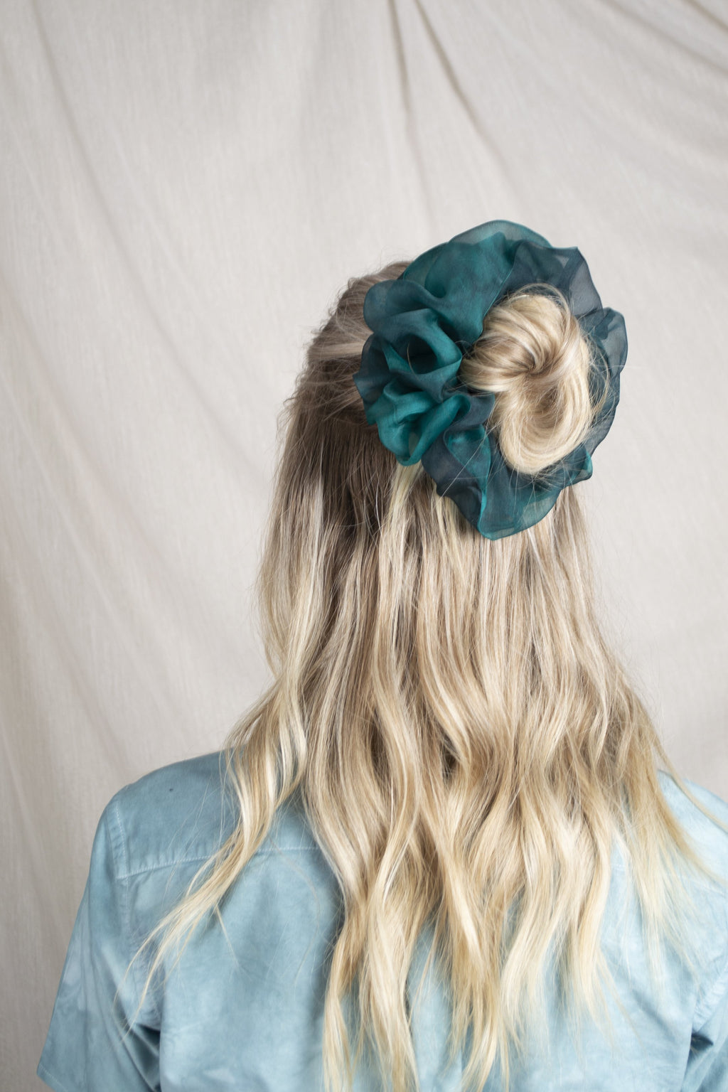 Mega Scrunchie - Structured Organza Emerald Tie-Dye